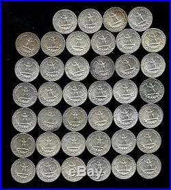 ONE ROLL OF WASHINGTON QUARTERS (1960-64) 90% Silver (40 Coins) LOT F52