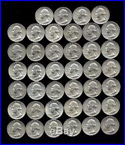 ONE ROLL OF WASHINGTON QUARTERS (1960-64) 90% Silver (40 Coins) LOT F 16