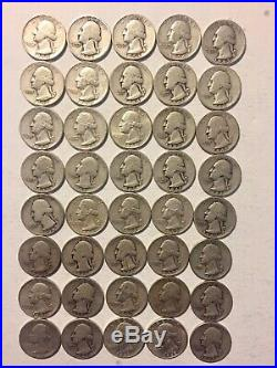ONE ROLL OF WASHINGTON QUARTERS 90% Silver (40 Coins) Ungraded Nice. Lot3