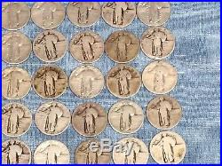 ONE ROLL(of 40) STANDING LIBERTY SILVER QUARTERS- READABLE DATES-CLEARANCE