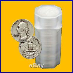 One Roll 40 Coins Pre-1965 Washington Quarters 90% Silver Us Coins