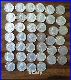One roll of 1964 Washington 90% silver quarters