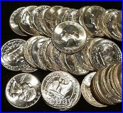 Original BU Roll of 40 1948 Washington Quarters fresh bright coins as shown