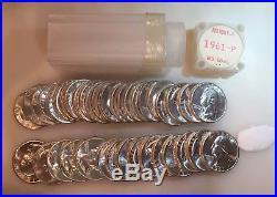 Original Gem BU Roll of 40 1961-P Washington Quarter Coins, Lustrous 90% Silver
