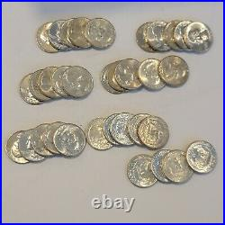 Partial Roll Of 34 Mostly 1964 D or Earlier Silver Washington Quarters Au-Unc