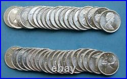 Partial roll of (39) 1965 Proof-Like BU Canadian Caribou Silver (80%) Quarters