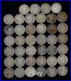 ROLL BARBER QUARTERS WORN/DAMAGED 90% Silver (40 Coins) LOT J24