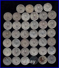 ROLL OF WASHINGTON QUARTERS 90% Silver (40 Coins) WORN/DAMAGED LOT B79