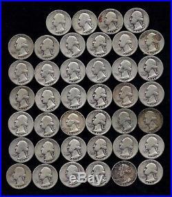 ROLL OF WASHINGTON QUARTERS 90% Silver (40 Coins) WORN/DAMAGED LOT C17