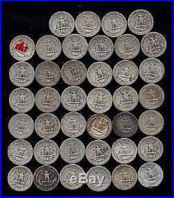 ROLL OF WASHINGTON QUARTERS 90% Silver (40 Coins) WORN/DAMAGED LOT T143
