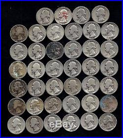 ROLL OF WASHINGTON QUARTERS 90% Silver (40 Coins) WORN/DAMAGED LOT T146