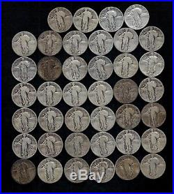 ROLL STANDING LIBERTY QUARTERS 1925-1930 90% Silver (40 Coins) LOT F68
