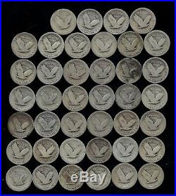 ROLL STANDING LIBERTY QUARTERS WORN/DAMAGED 90% Silver (40 Coins) LOT S63