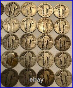ROLL of 40 Standing Liberty silver quarter dollars. AG-G 1925-1930. #3