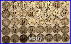 ROLL of 40 Standing Liberty silver quarter dollars. Pre-1925 with dates worn. #1