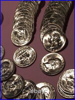 Roll 1954-s Gem Bu 90% Silver Washington Quarters-superb Luster Pq++40 Coin Roll