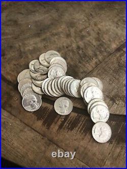 Roll (40) AU/UNC BU Washington 90% Silver Quarters 1950s 1960s. Estate Lot