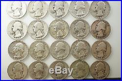 Roll (40) Washington Quarter 90% Silver Roll Junk / Cull 1930's 1940's