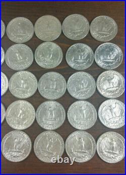 Roll (40) Washington Quarter Dollar 90% Silver 1964 Free Shipping