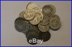 (Roll 40 ct.) Barber Silver Quarters, average circ, various years mint marks