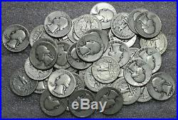 Roll+ (41 Coins) of Circulated Washington Quarters, 1934-1949 (90% Silver)