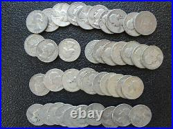 Roll Of 40 $10 90% Silver Washington Quarters. Full Date (D)