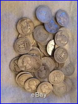 Roll Of 40 $10 Face Value 90% Silver Washington Quarters