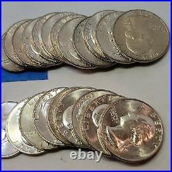 Roll Of 40 $10 Face Value Mostly 1964 D Silver Washington Quarters Au-Unc