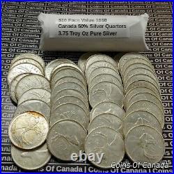 Roll Of 40 1968 Canada Silver 25 Cent Quarters $10 Face Value #coinsofcanada