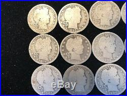 Roll Of (40) Barber Silver Quarters 1893-1916 in A/g to Good Condition Lot #11