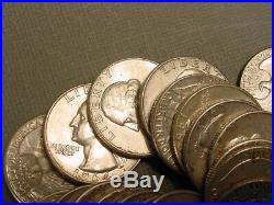 Roll Of 40 Pre-1964 90% Silver Washington Quarters $10 Face Value