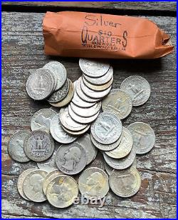 Roll Of 40 Silver Washington Quarters 90% Silver $10 Face Value Pre 1965