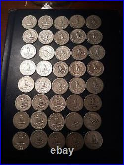 Roll Of 40 Silver Washington Quarters, 90% Silver Coins 1932-1964 Lot #4