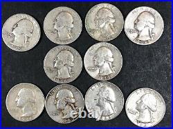 Roll Of 40 Washington Quarters 90% Silver 1942-1945 & 1963 Circulated