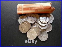 Roll Of 90% Silver washington quarters unsearched dates 40 coins