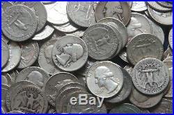 Roll Of Washington Quarters (40) 90% Silver (1932-64) Lot C91