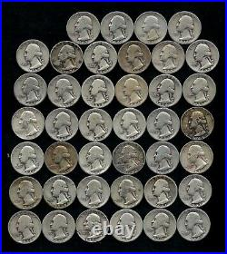 Roll Of Washington Quarters (40) 90% Silver (1932-64) Worn/damaged Lot C18