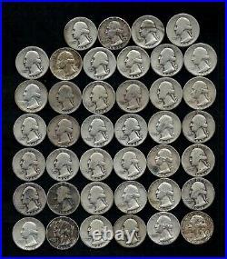 Roll Of Washington Quarters (40) 90% Silver (1932-64) Worn/damaged Lot D33