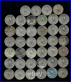 Roll Of Washington Quarters (40) 90% Silver (1932-64) Worn/damaged Lot D35
