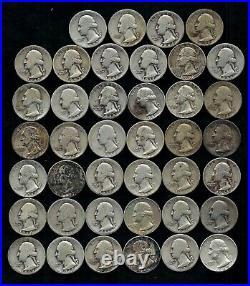 Roll Of Washington Quarters (40) 90% Silver (1932-64) Worn/damaged Lot D36
