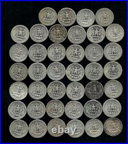 Roll Of Washington Quarters (40) 90% Silver (1932-64) Worn/damaged Lot D37
