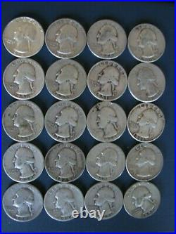 Roll Of Washington Quarters 90% Silver (40 Coins) Unsearched