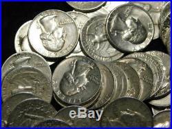 Roll Washington Quarters 90% Silver $10 Face (40) Coins Mixed Dates/mints Q4