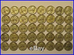 Roll of 40, $10 FV, 90% Silver Washington Quarters, Avg. Circulated, 1960-1963