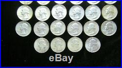 Roll of 40 1964 Washington Quarters, 90% Silver, Nice Coins