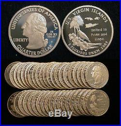 Roll of 40 2009-S Proof U. S. Virgin Islands 90% Silver Quarters