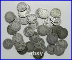 Roll of 40 90% Silver Barber Quarters Mixed Dates and Mints #4