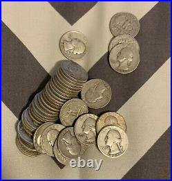 Roll of 40 Assorted Circulated 90% Silver Washington Quarters 1932-1964