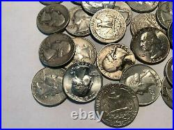 Roll of 40 Assorted, Circulated 90% Silver Washington Quarters. 1940's to 1960's