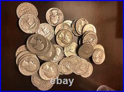 Roll of 40 Assorted Circulated 90% Silver Washington Quarters FREE SHIPPING